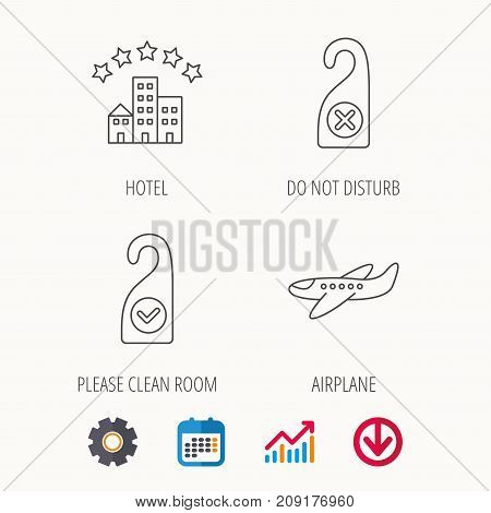 Hotel, airplane and do not disturb icons. Clean room linear sign. Calendar, Graph chart and Cogwheel signs. Download colored web icon. Vector