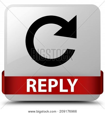 Reply (rotate Arrow Icon) White Square Button Red Ribbon In Middle