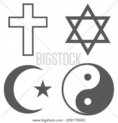 Religion icon set icon. Vector simple illustration of catholic religion icon black set isolated on white background