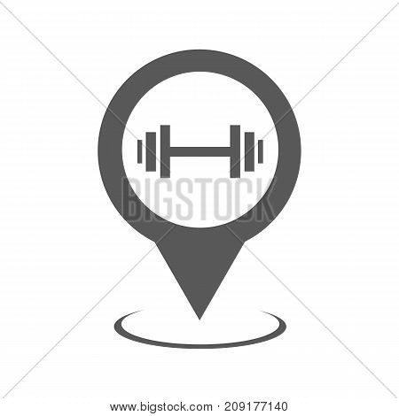 Gym map pointer icon. Simple illustration of gym map pointer vector icon black isolated on white background
