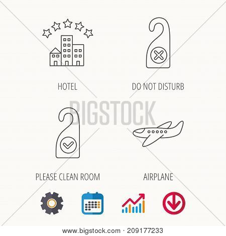 Hotel, airplane and clean room icons. Do not disturb linear sign. Calendar, Graph chart and Cogwheel signs. Download colored web icon. Vector