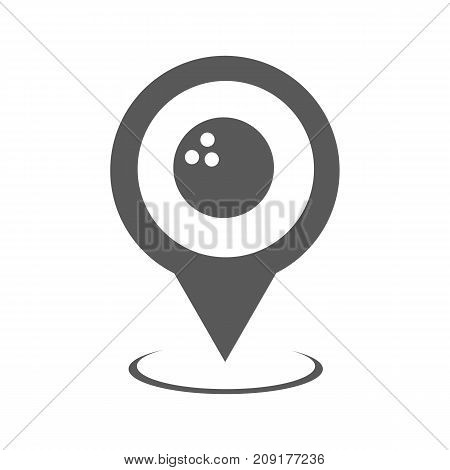 Bowling map pointer icon. Simple illustration of bowling map pointer vector icon black isolated on white background