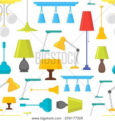 Cartoon Home Illumination Lamp Background Pattern on a White Flat Style Design Elements for Interior. Vector illustration