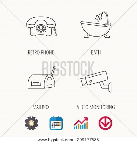 Retro phone, video camera and mailbox icons. Bath linear sign. Calendar, Graph chart and Cogwheel signs. Download colored web icon. Vector