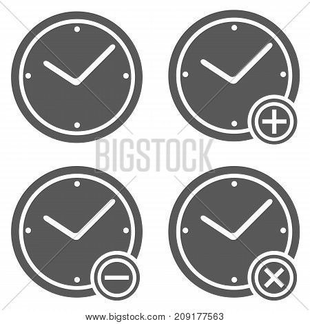 Clock icon set. Simple illustration of clock vector icon set isolated on white background