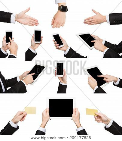 Set of caucasian businessman hands holding tablet, card, showing symbols and gestures. Like, dislike, pointing with index finger. Isolated on white background