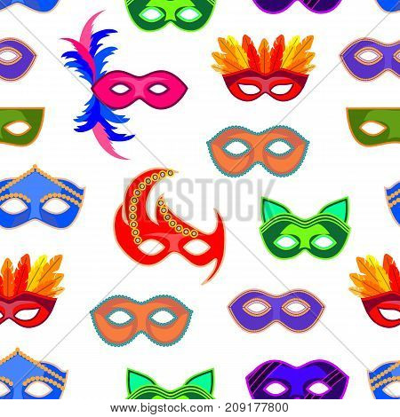 Cartoon Carnival Mask Background Pattern on a White Flat Style Design Elements for Celebration Party or Holiday . Vector illustration