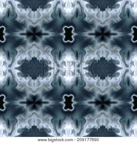 Seamless pattern. Abstract background in gray and emerald green hues. Fantastic symmetric ornament. Square template for creative design