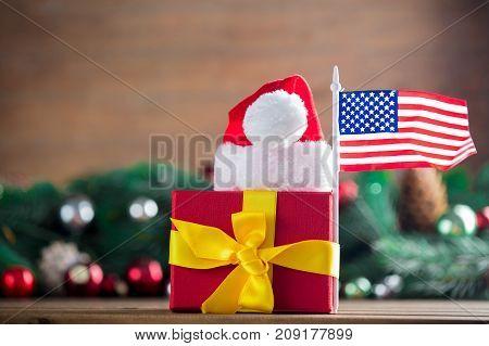 Gift Box With Usa Flag