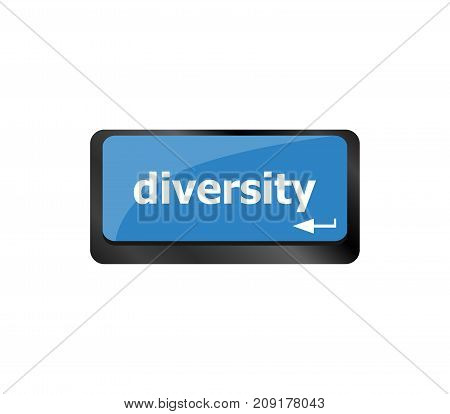 Business Concept. Computer Keyboard With Word Diversity, Selected Focus On Enter Button Background