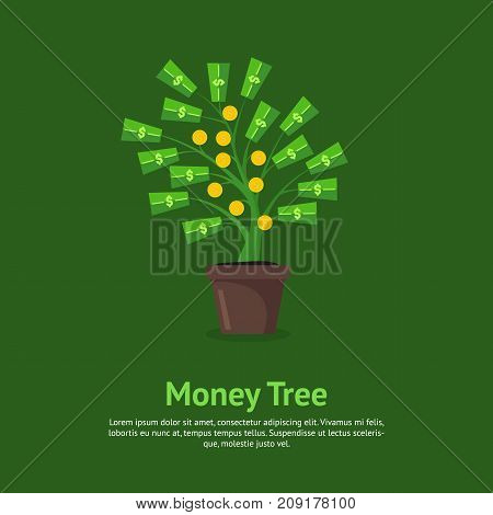 Cartoon Money Tree Growing in Pot Card Poster Concept Success Finance Investment, Symbol of Profit. Vector illustration