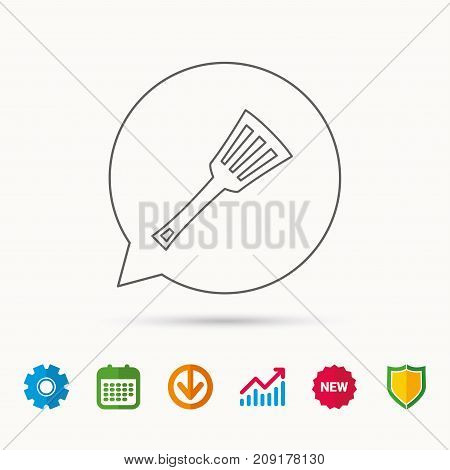 Kitchen utensil icon. Kitchenware spatula sign. Cooking tool symbol. Calendar, Graph chart and Cogwheel signs. Download and Shield web icons. Vector