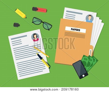 Cartoon View of Working Place witch Papers Folder, Phone, Glasses and Different Element on a Green. Vector illustration