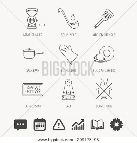 Soup ladle, potholder and kitchen utensils icons. Salt, not boil and saucepan linear signs. Meat grinder, water drop and coffee cup icons. Education book, Graph chart and Chat signs. Vector