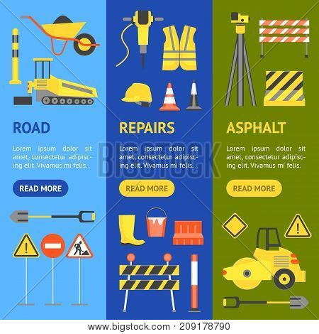 Cartoon Road Construction Banner Vecrtical Set Flat Style Design Elements Transportation, Equipment and Street Sign. Vector illustration