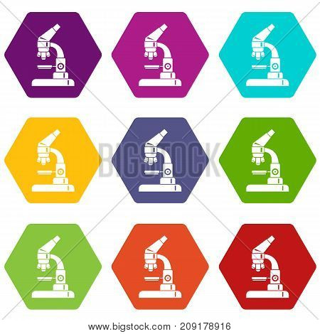 Microscope icon set many color hexahedron isolated on white vector illustration