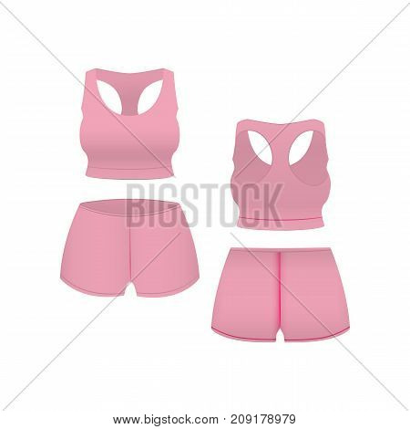 Realistic Template Blank Pink Shorts and Top Basic Women Clothing for Sport, Fitness. Vector illustration