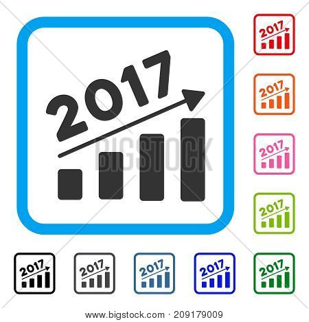 2017 Bar Chart Trend icon. Flat gray iconic symbol inside a light blue rounded square. Black, gray, green, blue, red, orange color versions of 2017 Bar Chart Trend vector.