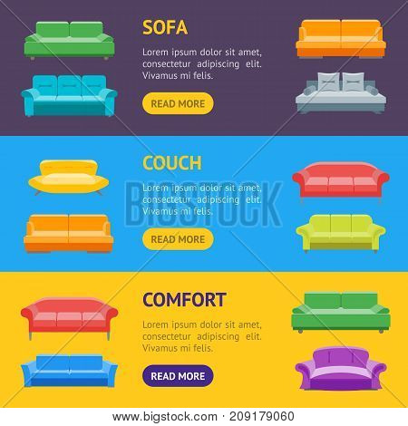 Cartoon Sofa or Divan Banner Horizontal Set Flat Style Design Elements Comfortable Furniture for Home and Office Interior. Vector illustration