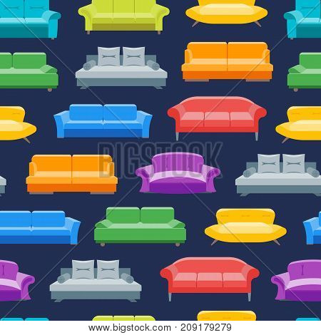 Cartoon Sofa or Divan Background Pattern on a Blue Flat Style Design Elements Comfortable Furniture for Home and Office Interior. Vector illustration