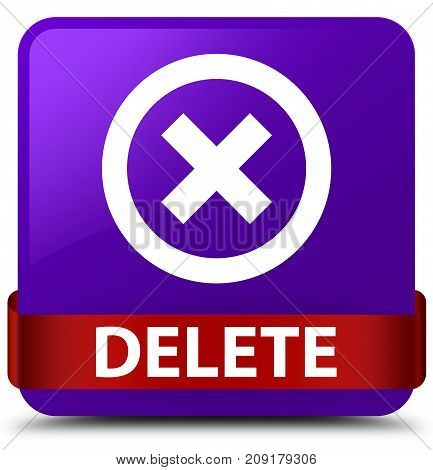 Delete Purple Square Button Red Ribbon In Middle