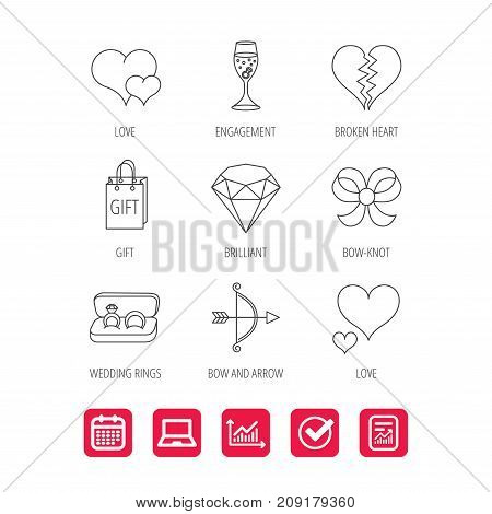 Love heart, gift box and wedding rings icons. Broken heart and engagement linear signs. Valentine amour arrow, brilliant flat line icons. Report document, Graph chart and Calendar signs. Vector