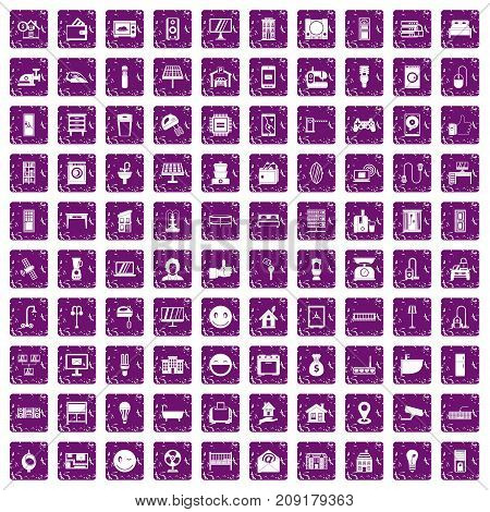 100 smart house icons set in grunge style purple color isolated on white background vector illustration
