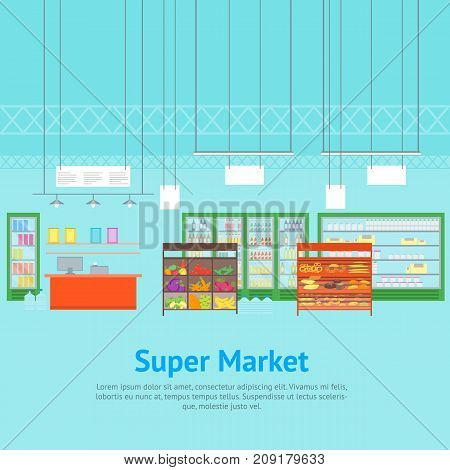 Cartoon Interior Super Market or Shop Card Poster with Furniture Shop Shelves Set and Cash Register Flat Style Design Elements. Vector illustration