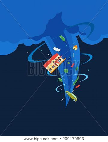 Cartoon Tornado or Hurricane Destroy House Card Poster Concept Insurance Flat Style Design Elements Disaster Concept Insurance. Vector illustration