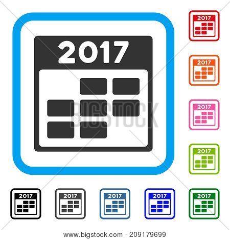 2017 Calendar Week icon. Flat grey pictogram symbol inside a light blue rounded rectangle. Black, gray, green, blue, red, orange color additional versions of 2017 Calendar Week vector.