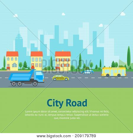 Cartoon Urban Landscape with Road and Traffic Transport Card Poster Flat Style Design Elements Building Facade. Vector illustration