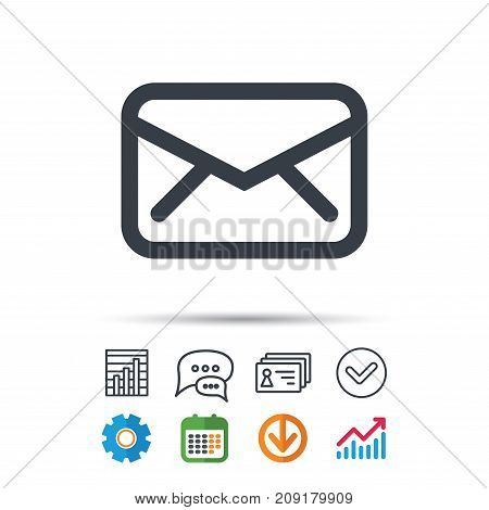 Envelope icon. Send email message sign. Internet mailing symbol. Statistics chart, chat speech bubble and contacts signs. Check web icon. Vector