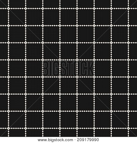 Vector grid seamless pattern. Abstract geometric texture with square lattice, jagged shapes, cross, lines. Simple background, repeat tiles. Dark modern design for decoration, prints, web. Square pattern. Lattice pattern. Lines pattern. Cross pattern
