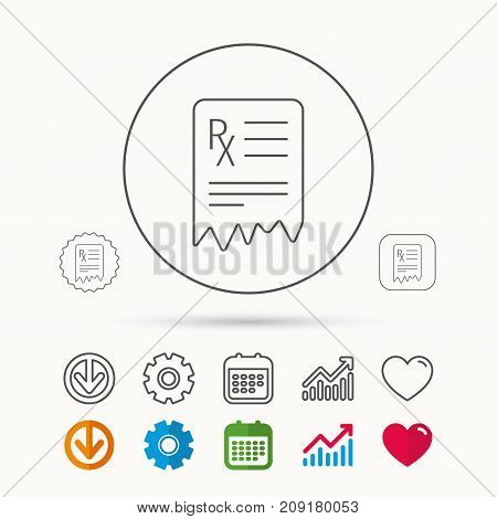 Medical prescription icon. Health document sign. Calendar, Graph chart and Cogwheel signs. Download and Heart love linear web icons. Vector