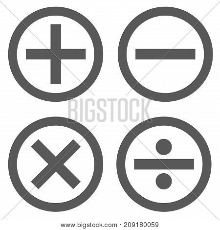 Calculator icon set in circle vector simple isolated on white background