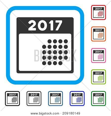 2017 Month Calendar icon. Flat gray iconic symbol in a light blue rounded rectangular frame. Black, gray, green, blue, red, orange color variants of 2017 Month Calendar vector.