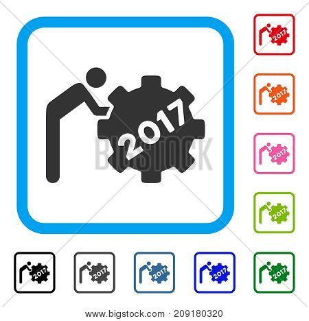 2017 Worker Rolling Gear icon. Flat gray iconic symbol in a light blue rounded rectangular frame. Black, gray, green, blue, red, orange color additional versions of 2017 Worker Rolling Gear vector.
