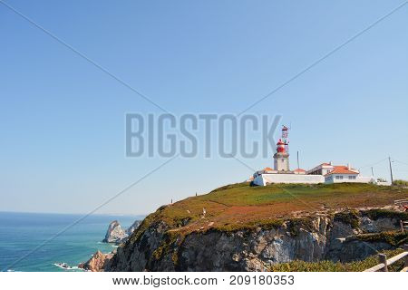 Lighthouse and cliffs at Cape St. Vincent sagres Algarve, Portugal