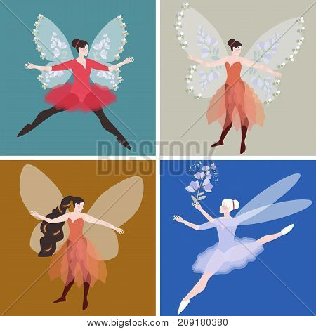Collection of beautiful females elves. Vector design.