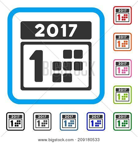 2017 Year First Day icon. Flat grey pictogram symbol inside a light blue rounded rectangle. Black, gray, green, blue, red, orange color additional versions of 2017 Year First Day vector.