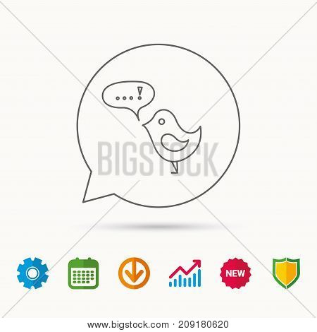 Bird with speech bubble icon. Chat talk sign. Cute small fowl symbol. Calendar, Graph chart and Cogwheel signs. Download and Shield web icons. Vector