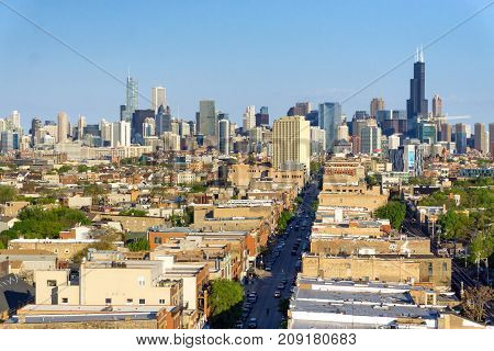 CHICAGO MAY 14: Cityscape view of Chicago on May 14 2017