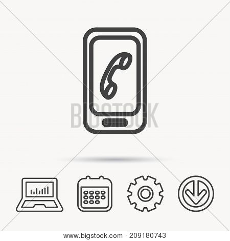Smartphone icon. Cellphone with touchscreen sign. Notebook, Calendar and Cogwheel signs. Download arrow web icon. Vector