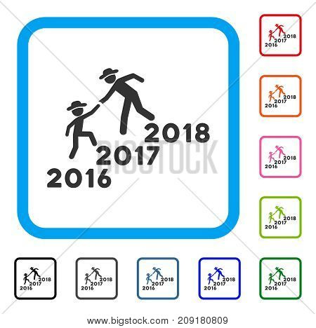 Annual Gentlemen Career Help icon. Flat grey pictogram symbol in a light blue rounded rectangular frame. Black, gray, green, blue, red,