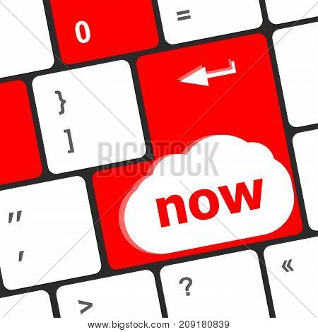 Computer Keyboard Keys With Now Word On It