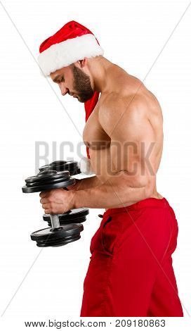 Muscular Santa Claus doing exercises with dumbbells, isolated on white background. Close-up. Concept of holidays.