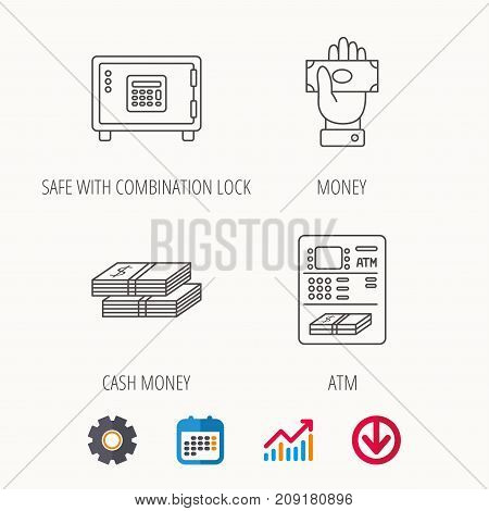 Give money, cash money and ATM icons. Safe box linear sign. Calendar, Graph chart and Cogwheel signs. Download colored web icon. Vector