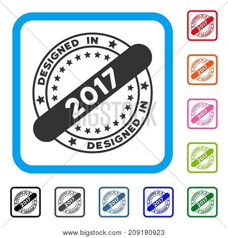 Designed In 2017 Stamp icon. Flat grey iconic symbol in a light blue rounded rectangle. Black, gray, green, blue, red, orange color versions of Designed In 2017 Stamp vector.