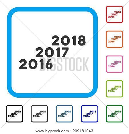 From 2016 To 2018 Levels icon. Flat grey pictogram symbol inside a light blue rounded square. Black, gray, green, blue, red, orange color additional versions of From 2016 To 2018 Levels vector.