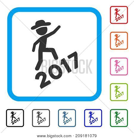 Gentleman Climbing 2017 icon. Flat gray pictogram symbol inside a light blue rounded squared frame. Black, gray, green, blue, red, orange color additional versions of Gentleman Climbing 2017 vector.